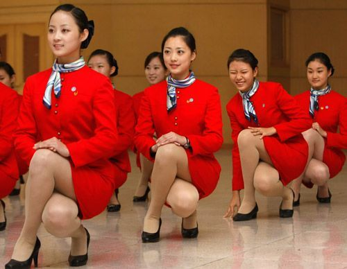 Chinese stewardesses in training