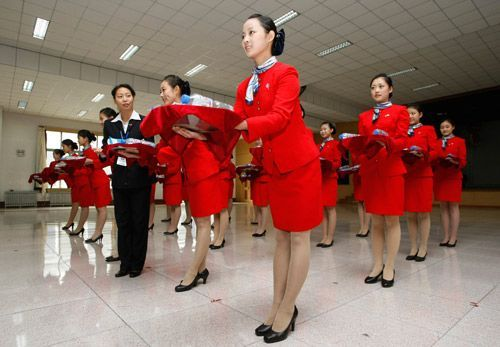 Chinese hostesses in training