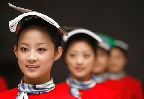 Pretty chinese stewardesses
